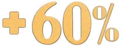 La percentuale avvantaggia, più 60 sessanta per cento, i numeri isolati su wh Fotografia Stock