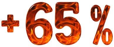 La percentuale avvantaggia, più 65, sessantacinque per cento, numeri isolati Fotografia Stock