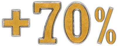 La percentuale avvantaggia, più 70 settanta per cento, i numeri isolati sopra Fotografia Stock