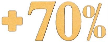 La percentuale avvantaggia, più 70 settanta per cento, i numeri isolati sopra Fotografia Stock Libera da Diritti