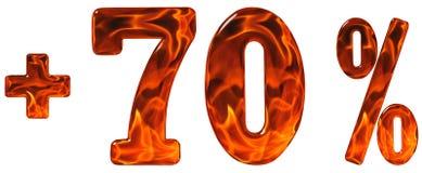 La percentuale avvantaggia, più 70, settanta per cento, numeri isolati sopra Immagine Stock