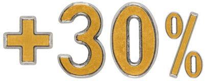 La percentuale avvantaggia, più 30 trenta per cento, i numeri isolati su w Immagine Stock