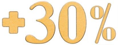 La percentuale avvantaggia, più 30 trenta per cento, i numeri isolati su w Fotografia Stock Libera da Diritti