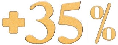 La percentuale avvantaggia, più 35 trentacinque per cento, i numeri isolati Fotografia Stock Libera da Diritti