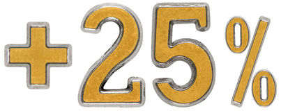 La percentuale avvantaggia, più 25 venticinque per cento, i numeri isolati Immagine Stock