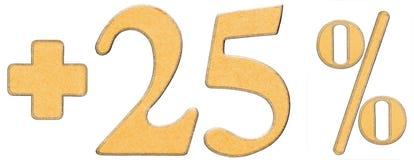 La percentuale avvantaggia, più 25 venticinque per cento, i numeri isolati Fotografia Stock