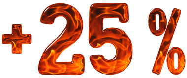 La percentuale avvantaggia, più 25, venticinque per cento, isolato di numeri Fotografia Stock