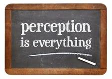La perception est tout - signe de tableau noir Images stock