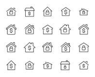 La perception simple des immobiliers a rapporté la ligne icônes illustration stock
