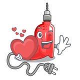 La perceuse électrique de coeur étant isolé avec la mascotte illustration de vecteur