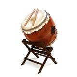 La percussion de Taiko de Japonais bat du tambour de l'instrument illustration libre de droits