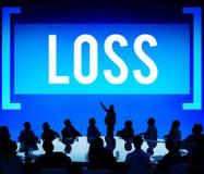La perdita deduce il concetto di fallimento di finanza di debito di recessione Fotografia Stock Libera da Diritti