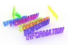La perfezione, informazioni, affare 3D variopinto concettuale ha reso le parole Alfabeto, cgi, comunicazione & stile illustrazione di stock