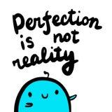 La perfezione non è illustrazione disegnata a mano della realtà con la caramella gommosa e molle blu sveglia nello stile del fume illustrazione di stock
