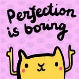 La perfezione sta alesando l'illustrazione disegnata a mano con il gatto arancio nello stile del fumetto illustrazione vettoriale