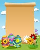 La pergamena in bianco ha decorato le uova di Pasqua Fotografie Stock Libere da Diritti