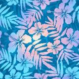 La perla azul y rosada colorea el modelo inconsútil del vector de las flores del trópico Imágenes de archivo libres de regalías