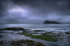 La perla de plata - gotee la mañana nublada de niebla de la playa en el amanecer Fotos de archivo libres de regalías