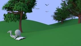 la persona 3d lee un libro bajo un árbol en un valle Imágenes de archivo libres de regalías