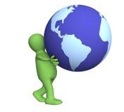 La persona 3d que lleva en globo de las manos Imagenes de archivo