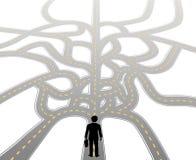 La persona affronta il percorso choice futuro Fotografie Stock