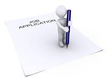 La persona che tiene una penna è sul documento di applicazione di job Fotografia Stock