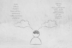 La persona con mente de la rueda dentada y el pensamiento burbujean con las listas de ambos imagen de archivo libre de regalías