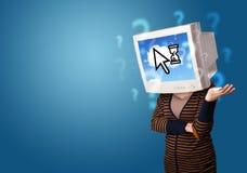 La persona con una testa e una nuvola del monitor ha basato la tecnologia sullo schermo Fotografia Stock