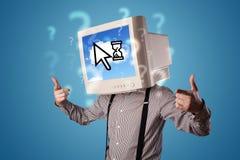 La persona con una testa e una nuvola del monitor ha basato la tecnologia sull'SCR Immagine Stock Libera da Diritti
