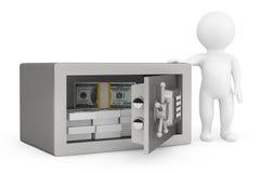 la persona 3d y la seguridad metal la caja fuerte con el dinero Fotos de archivo