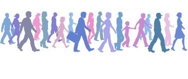 La persona de color de la caminata del grupo sigue al arranque de cinta de la dirección