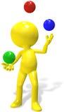 La persona de la historieta 3D del juglar hace juegos malabares bolas del RGB Fotos de archivo libres de regalías