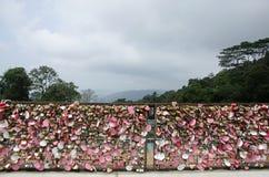 La persona degli amanti che mostra l'amore dalla chiave primaria di uso fissa la rete d'acciaio a Fotografia Stock Libera da Diritti