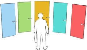 La persona del asunto elige la decisión de las opciones de las puertas libre illustration