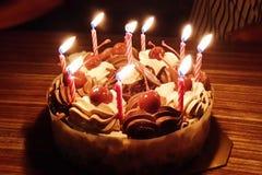 La persona del cumpleaños sopla hacia fuera las velas en la torta Imagen de archivo libre de regalías