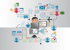 La persona delante del cuaderno que comunica con el chatbot múltiple mantiene enviando mensajes a través de Internet libre illustration