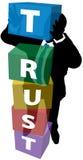La persona di affari sviluppa la fiducia leale del cliente Immagine Stock