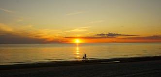 La persona en la bici en la playa durante la puesta del sol Fotos de archivo libres de regalías