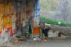 La persona es sin hogar Foto de archivo libre de regalías