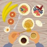 La persona está comiendo el desayuno ilustración del vector