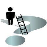 La persona necesita ayuda pedir el agujero profundo del signo de interrogación Foto de archivo