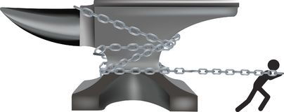 La persona negra tira con las cadenas de un yunque del acero Imagen de archivo libre de regalías