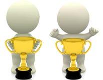 La persona que gana un trofeo 3d rinde, el ejemplo 3d ilustración del vector