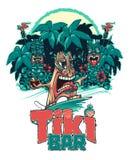 La persona que practica surf de Tiki y Tiki juegan el ukelele y el tambor Barra de Tiki ilustración del vector