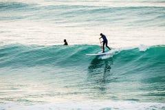 La persona que practica surf encendido se levanta el tablero de paleta en onda azul Invierno que practica surf en el mar Fotografía de archivo libre de regalías