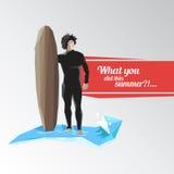 La persona que practica surf guarda al tablero para practicar surf libre illustration