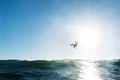 La persona que practica surf que salta delante del sol Imágenes de archivo libres de regalías
