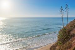 La persona que practica surf va a un grupo de atletas en el agua. Lecciones de la resaca en Portugal. Foto de archivo