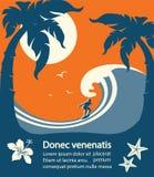 La persona que practica surf y el mar grande agitan la isla tropical stock de ilustración