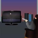 La persona que ve la TV Fotografía de archivo